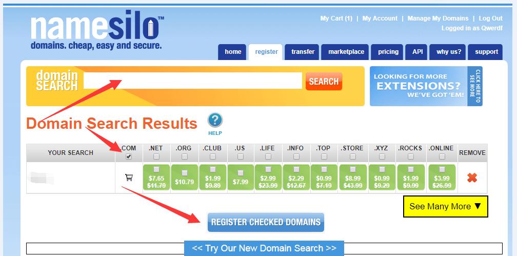 《2019 Namesilo 购买域名 解析域名 图文教程》
